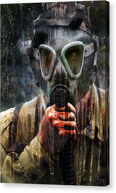 Soldier In World War 2 Gas Mask Canvas Print