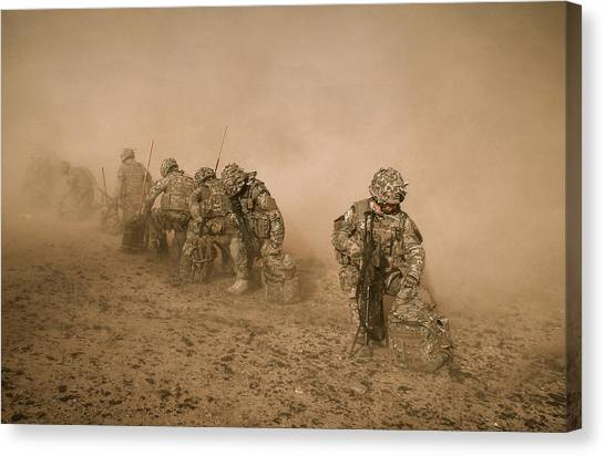 Royal Marines Canvas Print - Soldiers In The Dust 2 by Roy Pedersen
