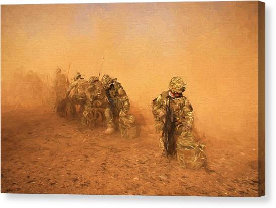 Royal Marines Canvas Print - Soldiers In The Dust 4 by Roy Pedersen