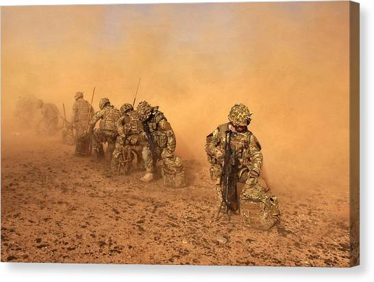 Royal Marines Canvas Print - Soldiers In The Dust by Roy Pedersen