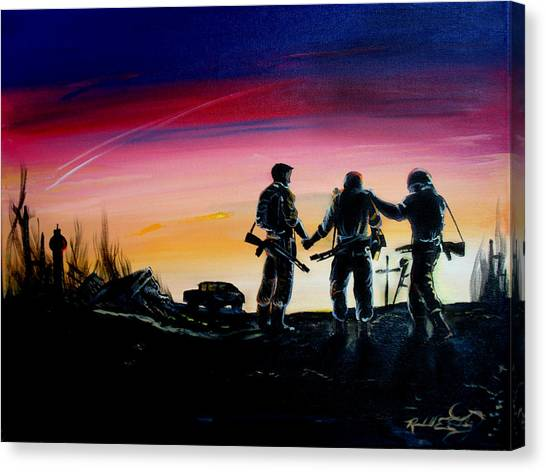 Soldiers Pray II Canvas Print by Randall Easterling