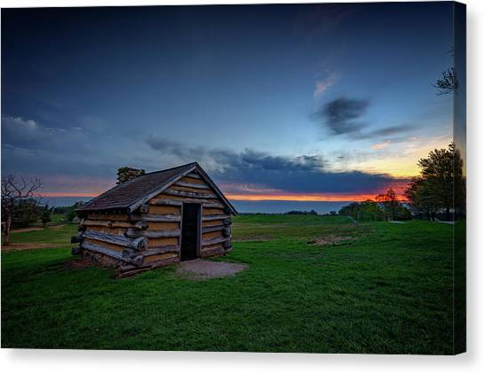 Log Cabin Canvas Print - Soldier's Quarters At Valley Forge by Rick Berk
