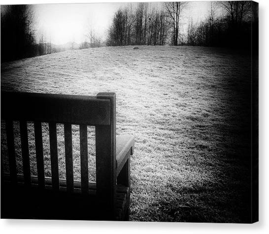 Solitary Bench In Winter Canvas Print