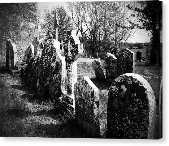 Timeworn Canvas Print - Solitary Cross At Fuerty Cemetery Roscommon Irenand by Teresa Mucha