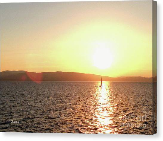 Solitary Sailboat Canvas Print