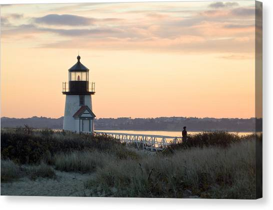 Solitude At Brant Point Light Nantucket Canvas Print by Henry Krauzyk