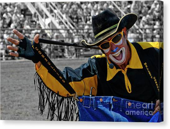 Rodeo Clown Canvas Print - I Like My Job by Bob Christopher