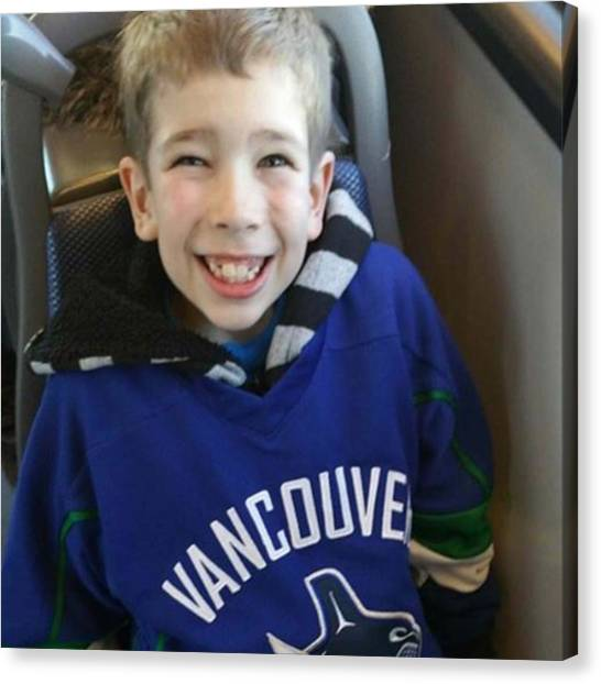 Vancouver Canucks Canvas Print - Someone Is So Excited For Some @canucks by Sparkly Shoes And Sweat Drops