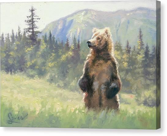 Something In The Air- Alaskan Brown Bear Canvas Print by Larry Seiler