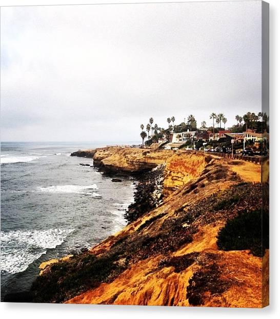 Beach Cliffs Canvas Print - Sometimes I Write And Sometimes You by Caroline B