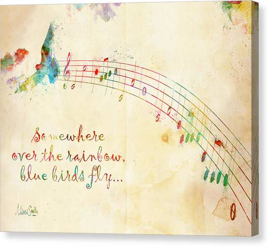 Music Canvas Print - Somewhere Over The Rainbow by Nikki Smith