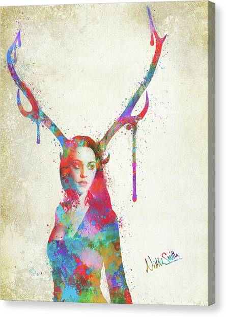 Spiritual Portrait Of Woman Canvas Print - Song Of Elen Of The Ways Antlered Goddess by Nikki Marie Smith