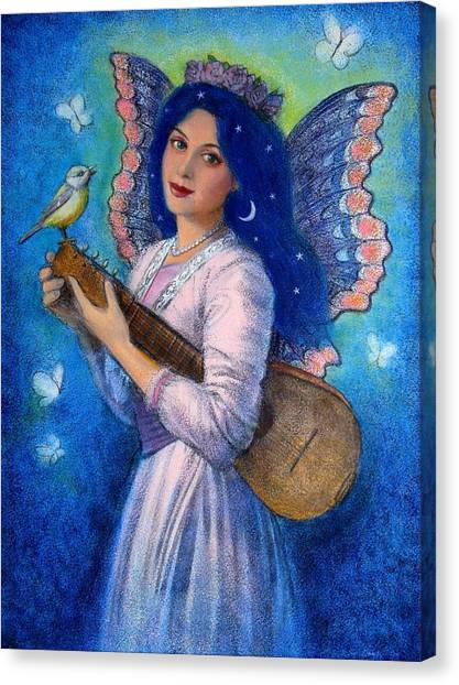 Mandolins Canvas Print - Songbird For A Blue Muse by Sue Halstenberg