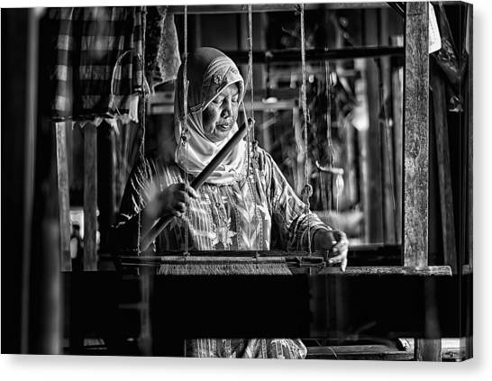 Traditional Canvas Print - Songket Maker by Erwin Astro