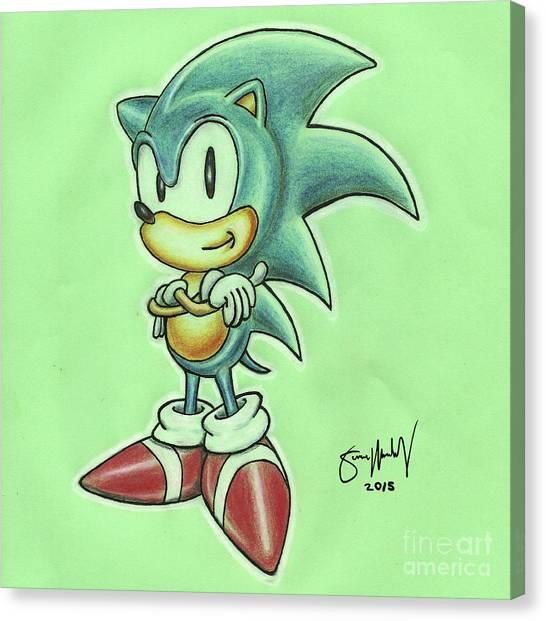 Sega Genesis Canvas Print - Sonic Drawing by Simon Moulding
