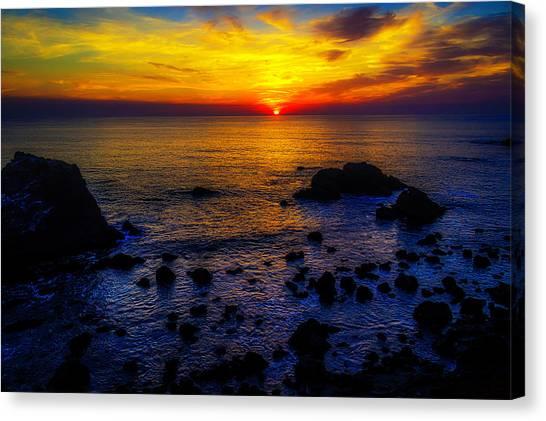 Sun Set Canvas Print - Sonoma Coast Sunset by Garry Gay