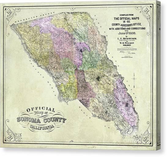 Sonoma Valley Canvas Print - Sonoma County Map 1900 by Jon Neidert