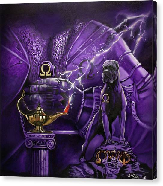 Omega Psi Phi Canvas Print - Sons Of Blood And Thunder by Jerome White