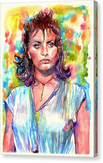 Naked Woman Canvas Print - Sophia Loren Painting by Suzann Sines