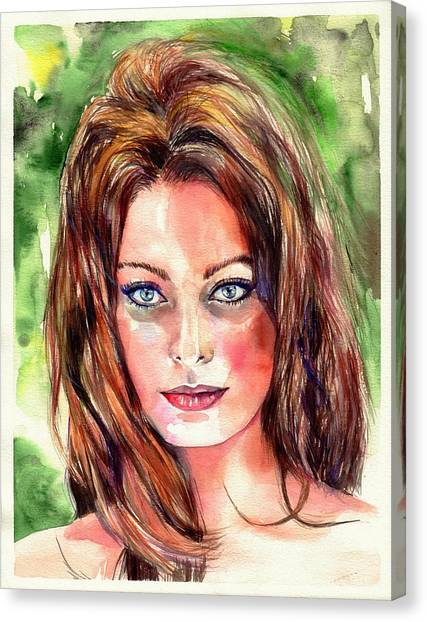 Bathing Canvas Print - Sophia Loren Portrait by Suzann's Art
