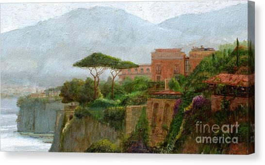 Mountain Cliffs Canvas Print - Sorrento Albergo by Trevor Neal