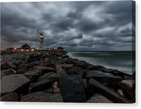 Stormy Clouds Over Old Scituate Lighthouse In The Early Morning Canvas Print