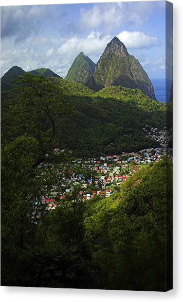 Soufriere Village- St Lucia Canvas Print