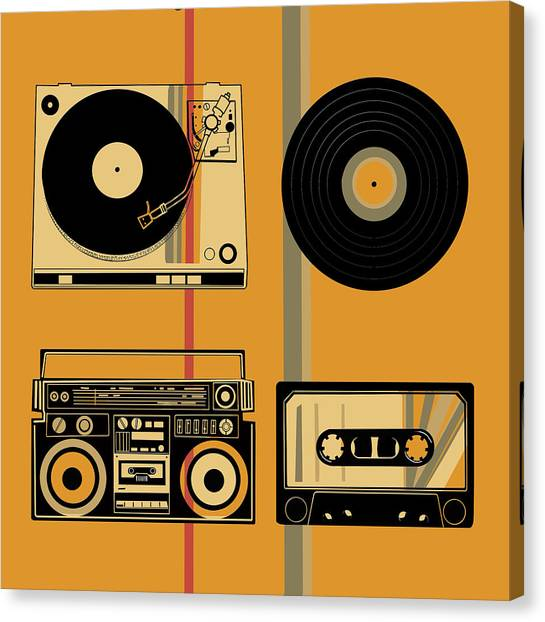 Vintage Polaroid Canvas Print - Sound Evolution 10 by Bekim Art