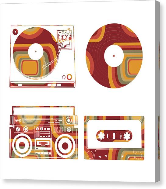 Vintage Polaroid Canvas Print - Sound Evolution 12 by Bekim Art