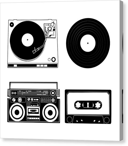 Vintage Polaroid Canvas Print - Sound Evolution 7 by Bekim Art