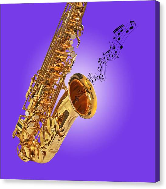 Sounds Of The Sax In Purple Canvas Print