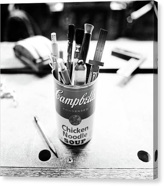 Packaging Canvas Print - Soupcan Pencil Holder On Workbench In Bw by YoPedro