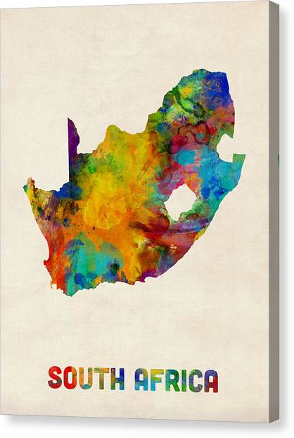 Cape Town Canvas Print - South Africa Watercolor Map by Michael Tompsett