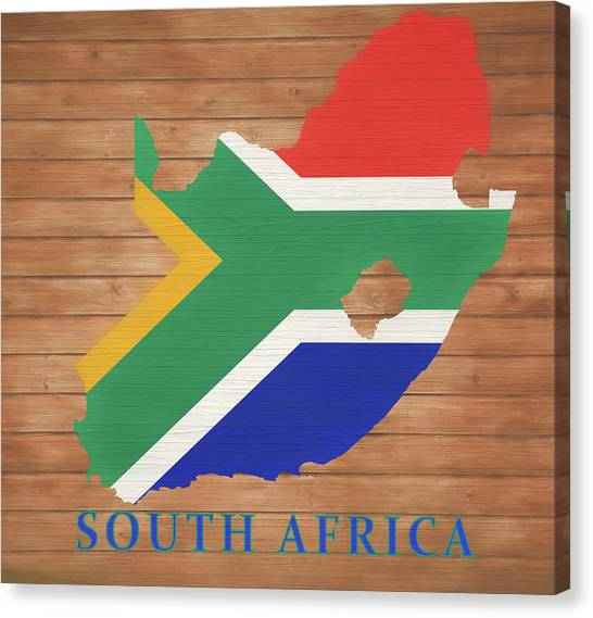 Republic Of South Africa Canvas Print - South African Rustic Map On Wood by Dan Sproul