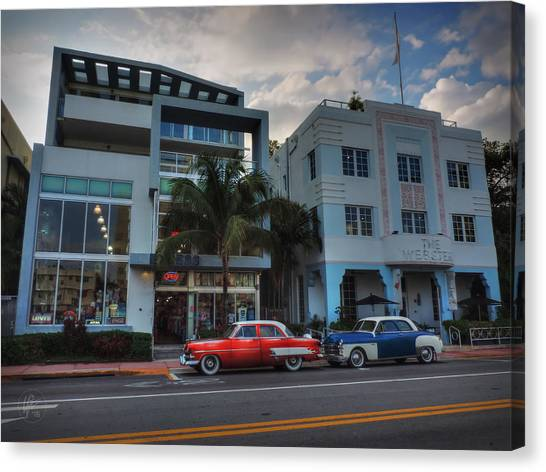 South Beach - Collins Avenue 002 Canvas Print by Lance Vaughn