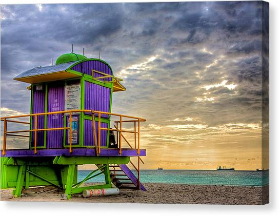 Lifeguard Canvas Print - South Beach Dawn by William Wetmore