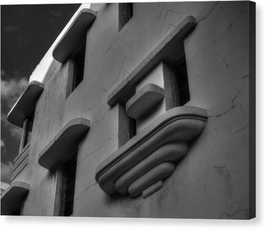 South Beach Deco Elements 001 Bw Canvas Print by Lance Vaughn