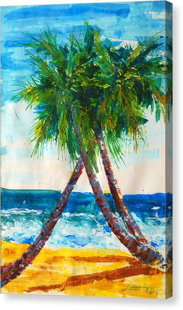 Canvas Print featuring the painting South Beach Palms by Thomas Lupari