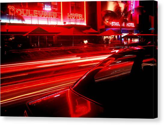South Beach Red Canvas Print by Brad Rickerby