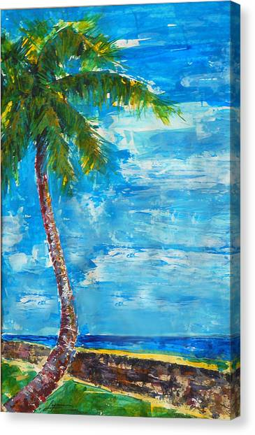 Canvas Print featuring the painting South Beach Wall by Thomas Lupari