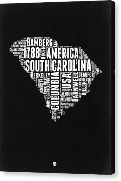 South Carolina Canvas Print - South Carolina Black And White Map by Naxart Studio
