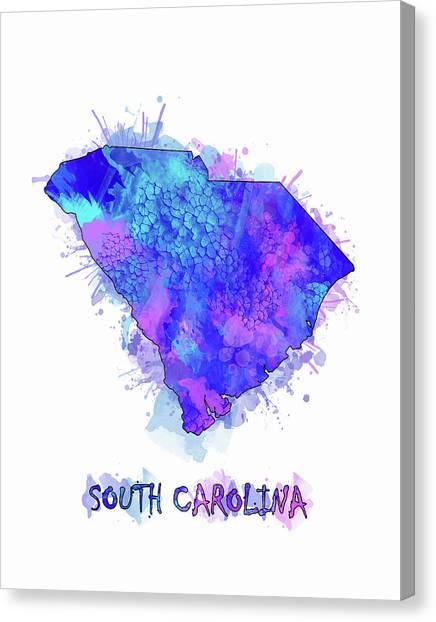Southwest Canvas Print - South Carolina Map Watercolor 2 by Bekim M