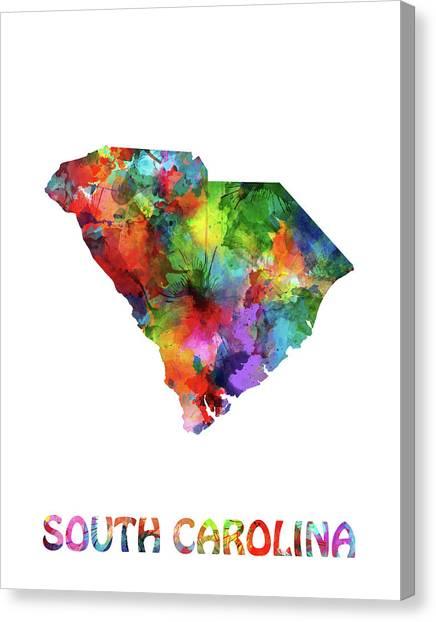 Southwest Canvas Print - South Carolina Map Watercolor by Bekim M