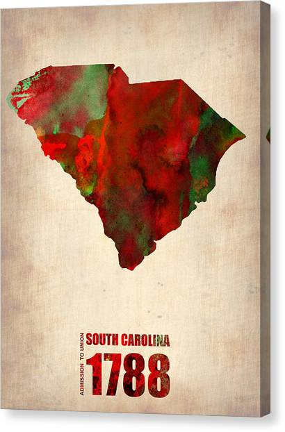 South Carolina Canvas Print - South Carolina Watercolor Map by Naxart Studio