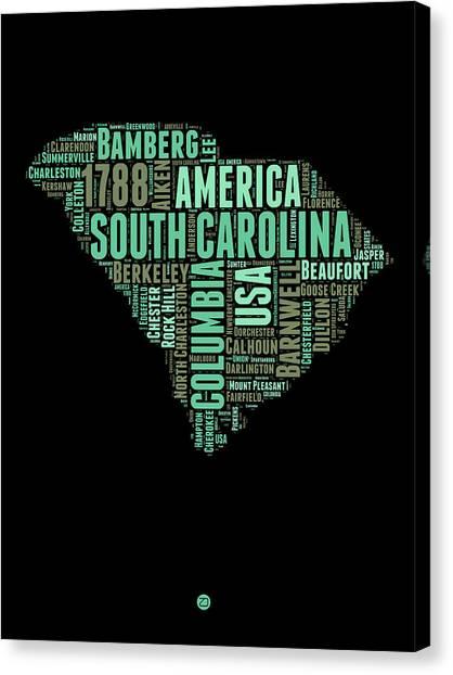 America Map Canvas Print - South Carolina Word Cloud 2 by Naxart Studio