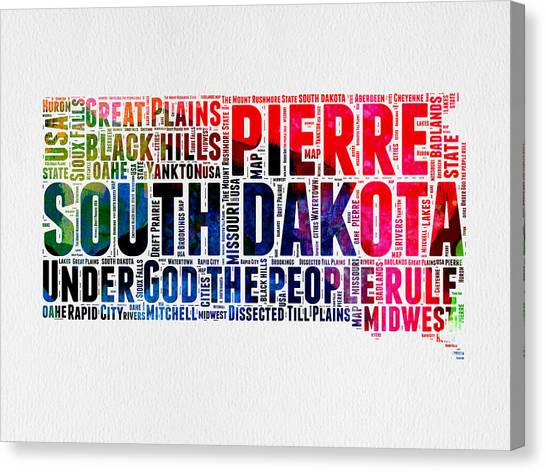 America Map Canvas Print - South Dakota Watercolor Word Cloud by Naxart Studio