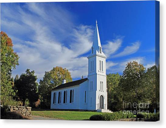 University Of Rhode Island Uri Canvas Print - South Ferry Church by Jim Beckwith