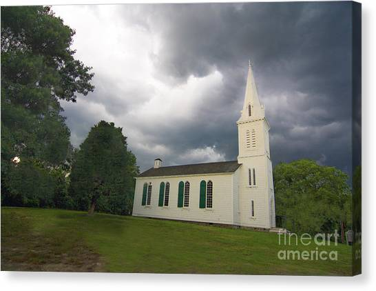 University Of Rhode Island Uri Canvas Print - South Ferry Church Storm Front by Jim Beckwith