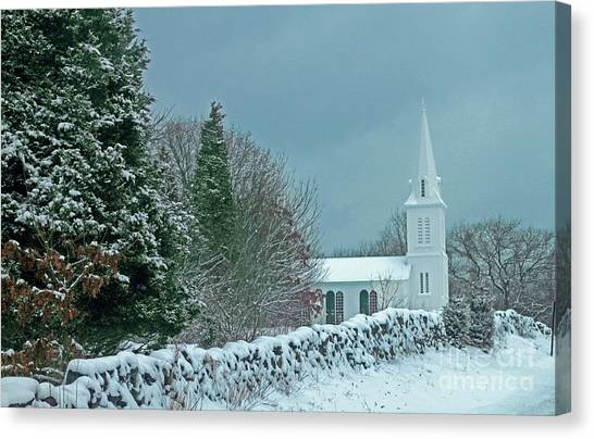 University Of Rhode Island Uri Canvas Print - South Ferry Church Winter by Jim Beckwith