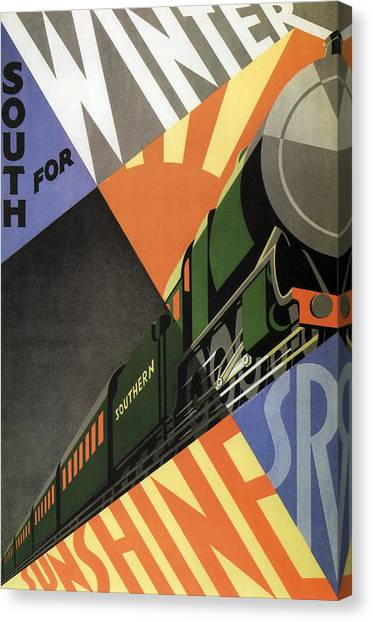 Trainspotting Canvas Print - British Go South For Winter Sunshine Vintage Travel C. 1934 by Daniel Hagerman